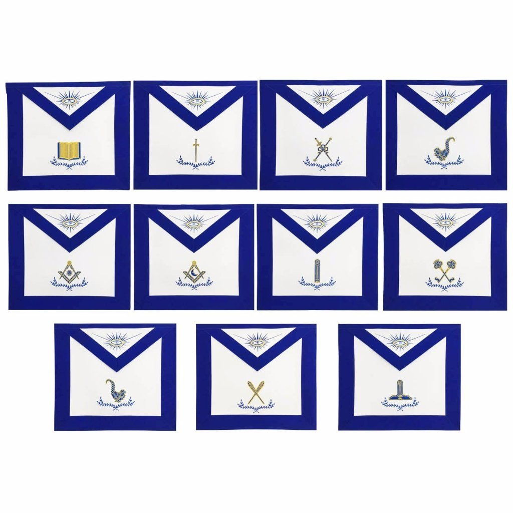 Masonic Blue Lodge Officers Apron Set of 11 Machine Embroidery Aprons - Bricks Masons
