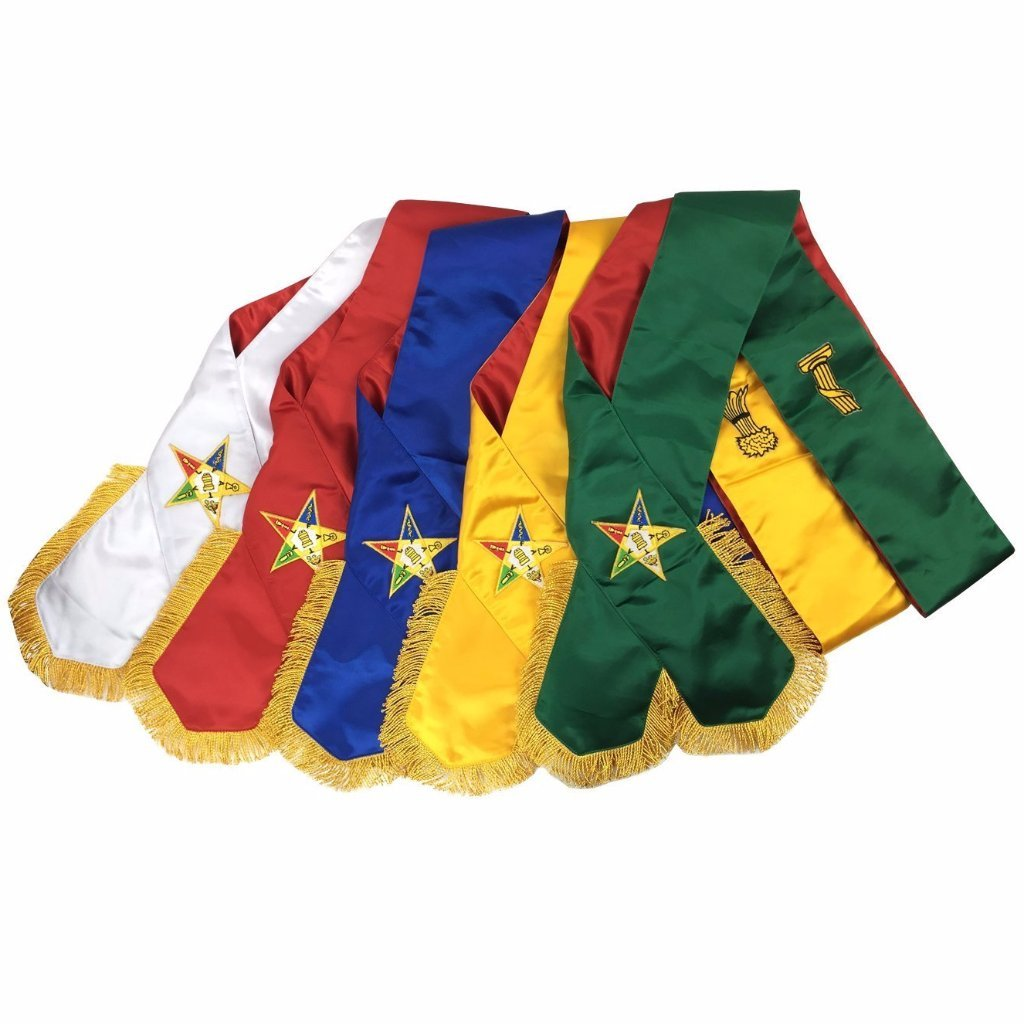 Masonic Order of Eastern Star OES complete Sash Set -Set of 5 sashes - Bricks Masons