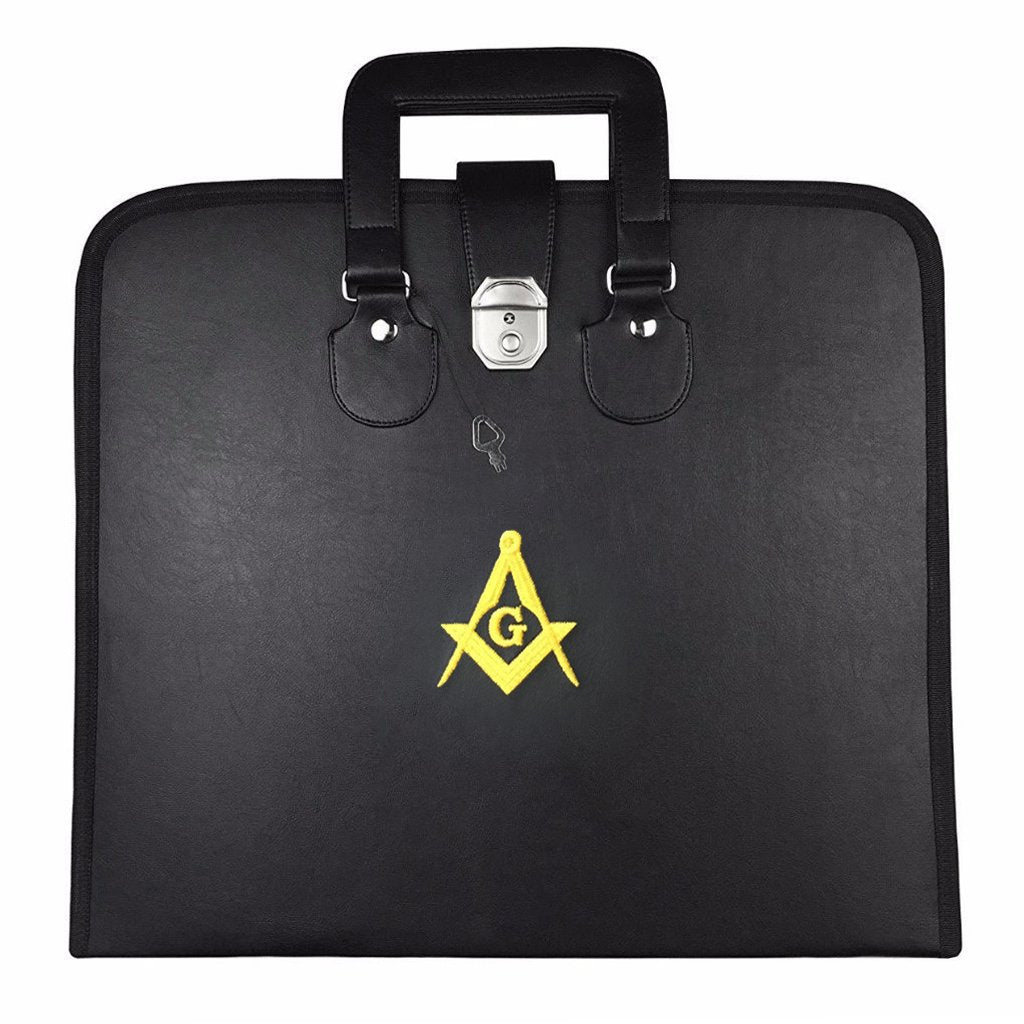 Masonic MM/WM and Provincial Full Dress Apron Yellow Square Compass Cases - Bricks Masons