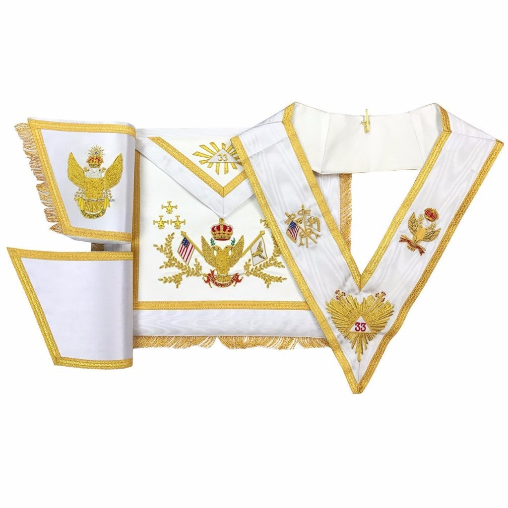 Rose Croix 33rd Degree Hand embroidered Apron Set 'WINGS UP' All Countries Flags - Bricks Masons