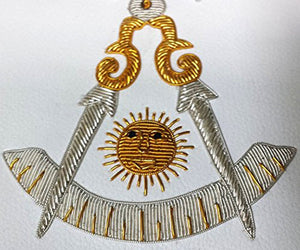Masonic Past Master Apron Gold and Silver Hand Embroidery Apron - Bricks Masons