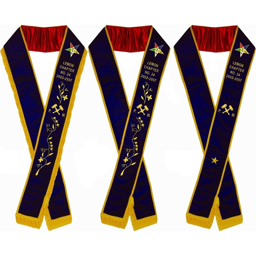 Past Matron - Hand Embroidered OES Purple Velvet Sashes - Bricks Masons