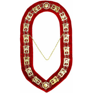 Shriner - Masonic Chain Collar - Gold/Silver on Red + Free Case - Bricks Masons