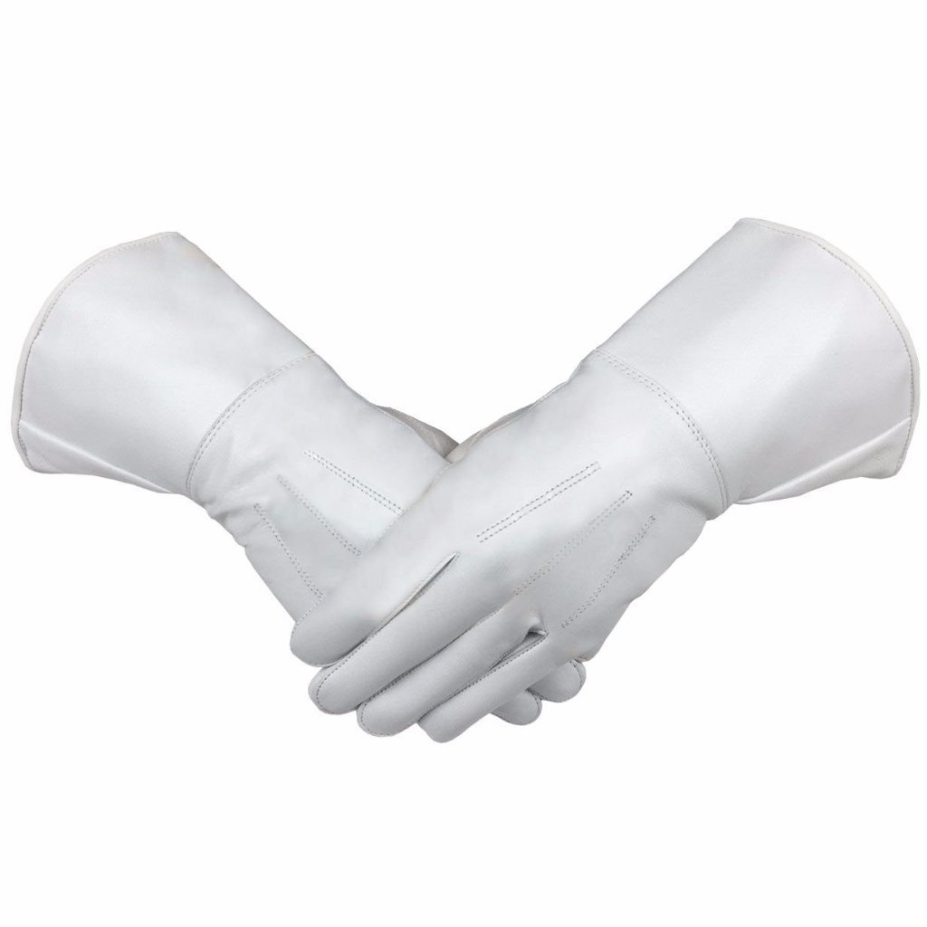 Masonic Piper Drummer Leather Gauntlets/Gloves White Soft Leather Knight Templar - Bricks Masons