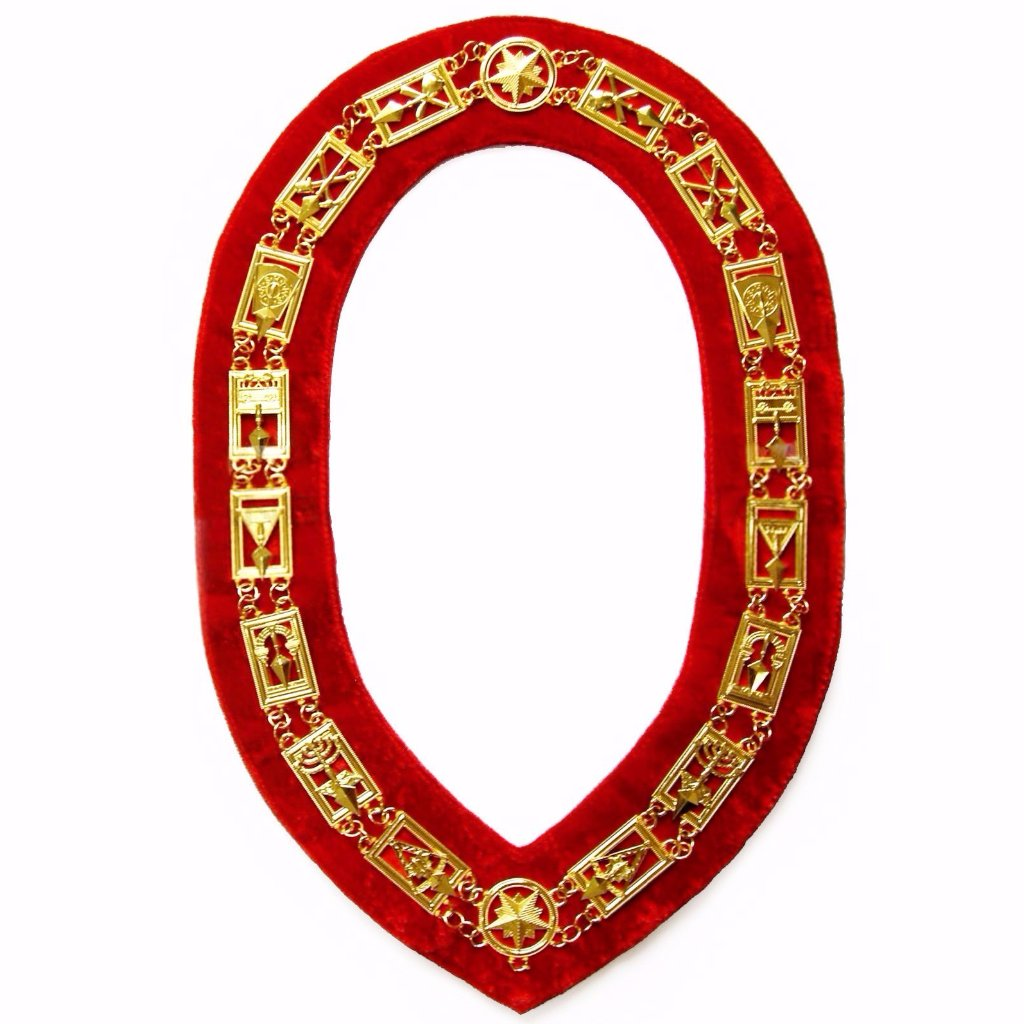 Cryptic Mason - Royal & Select Chain Collar - Gold/Silver On Red + Free Case - Bricks Masons