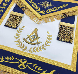 Masonic Blue Lodge Past Master Gold Machine Embroidery Freemasons Apron - Bricks Masons