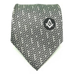 Masonic Regalia Black White Freemasons Tie - Bricks Masons