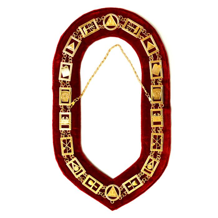 Royal Arch Masonic Chain Collar - Gold/Silver On Red + Free Case - Bricks Masons