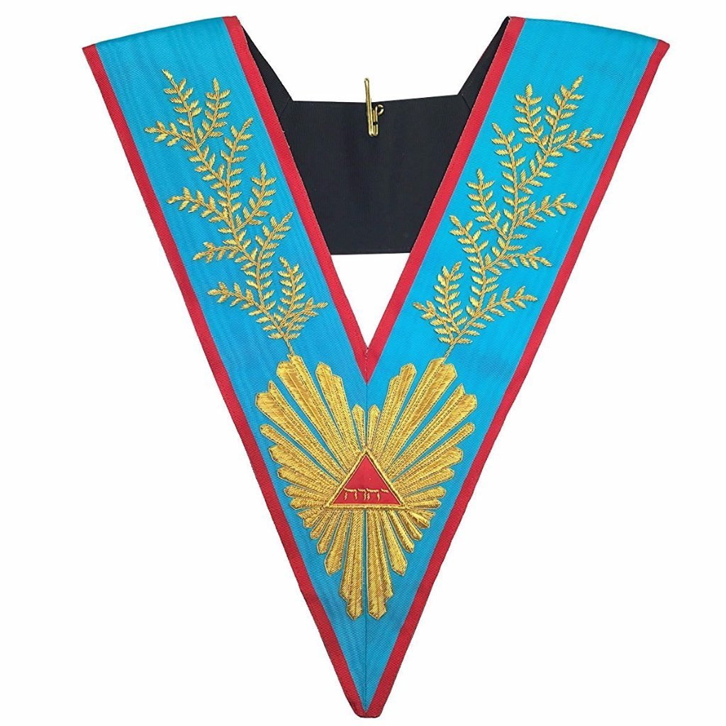 Masonic Officer's collar Memphis Misraim Worshipful Master Hand Embroidered - Bricks Masons