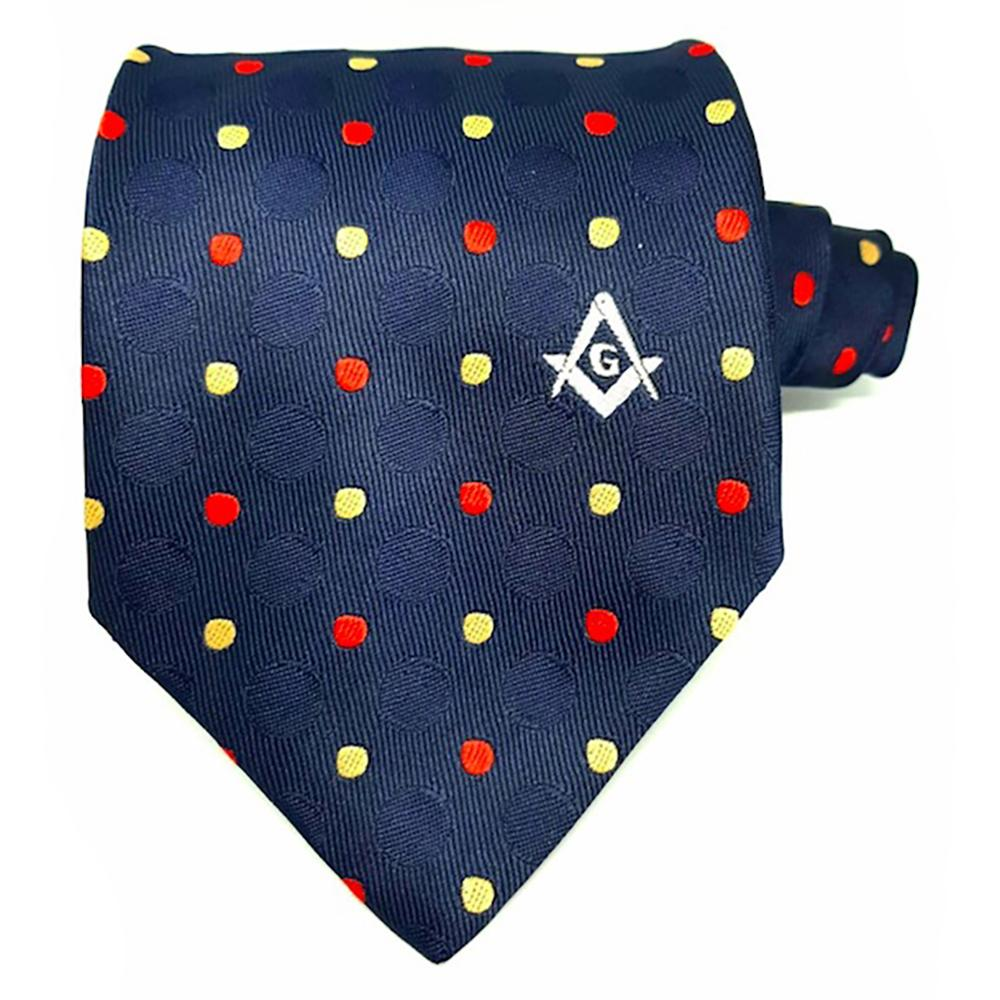 Masonic 100% silk Colored polkadot Tie with Logo