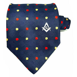 Masonic 100% silk Colored polkadot Tie with Logo - Bricks Masons
