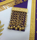 Masonic Blue Lodge Past Master Gold Machine Embroidery Purple Apron - Bricks Masons