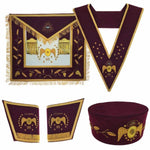 Masonic Scottish Rite 95th Degree Hand embroided Set Apron Collar Cap Gauntlets - Bricks Masons
