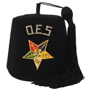 "Order of the Eastern Star OES Rhinestone 1"" Black Fez - Bricks Masons"