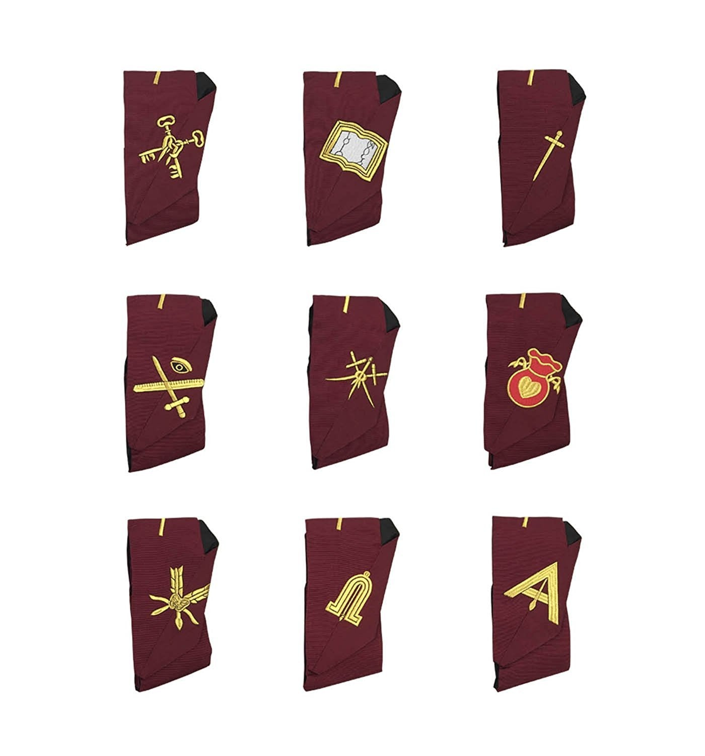Masonic Blue Lodge 14th Degree Collars- Set of 9 collars Machine Embroidered - Bricks Masons