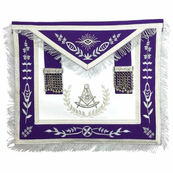 Masonic Blue Lodge Past Master Silver Machine Embroidery Purple Apron - Bricks Masons