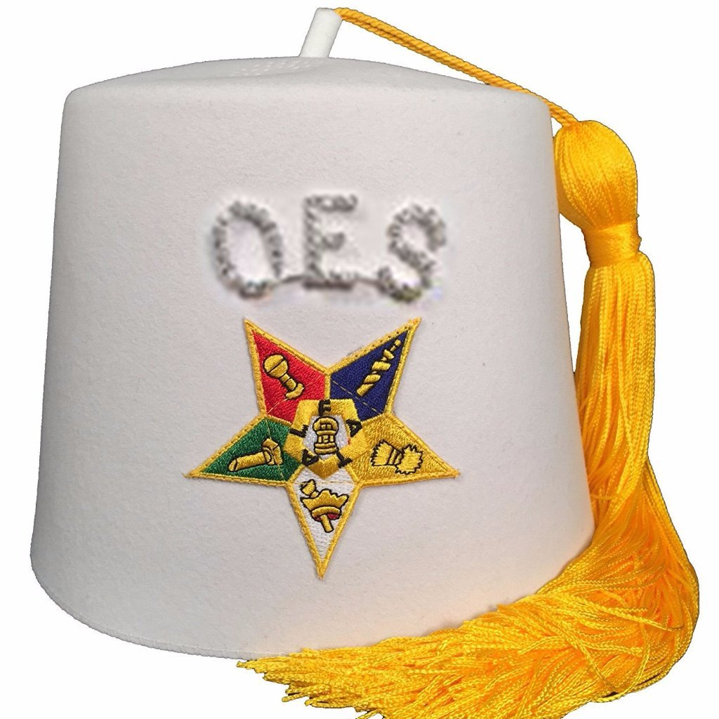 Order of the Eastern Star OES Rhinestone White Fez - Bricks Masons