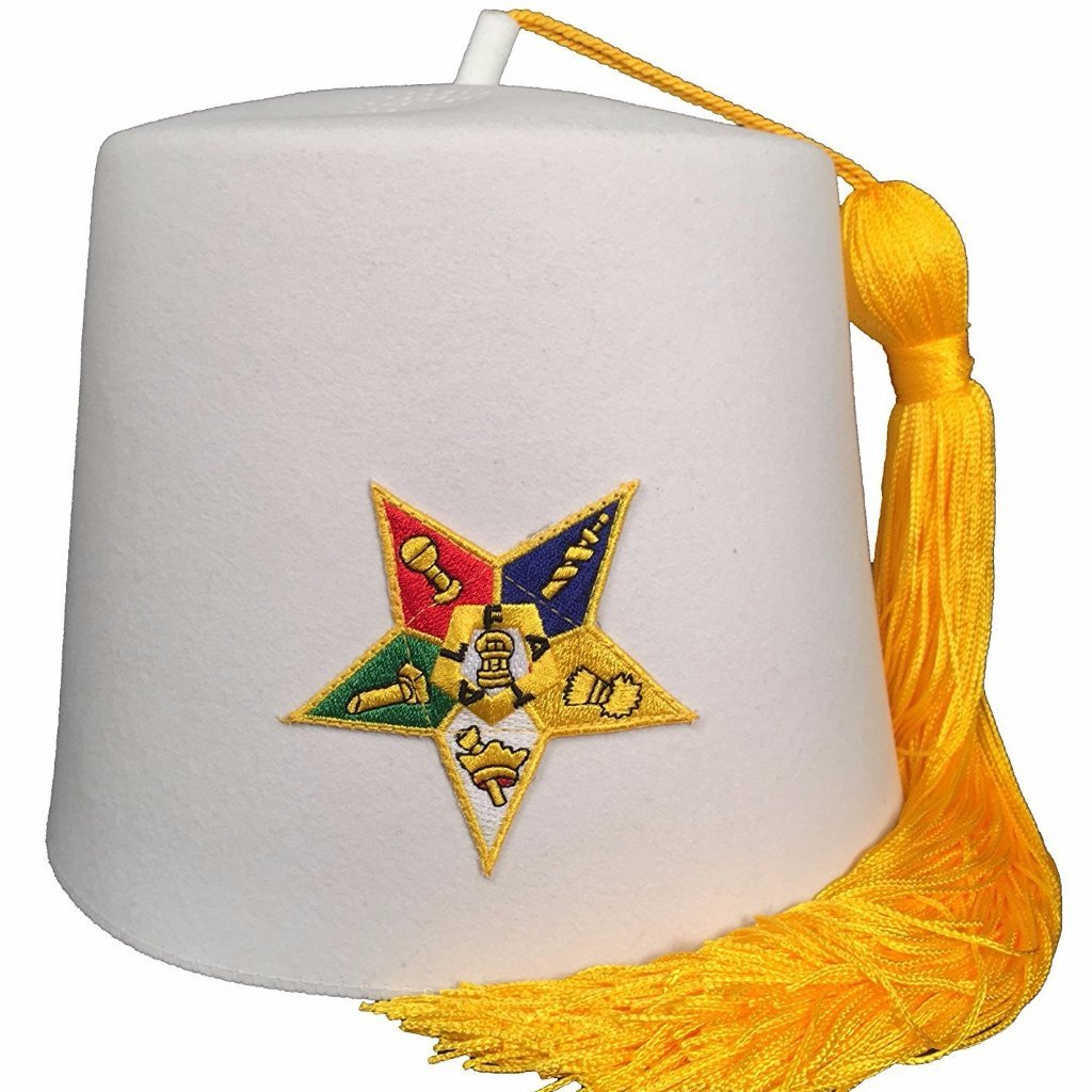 Order of the Eastern Star OES White Fez - Bricks Masons