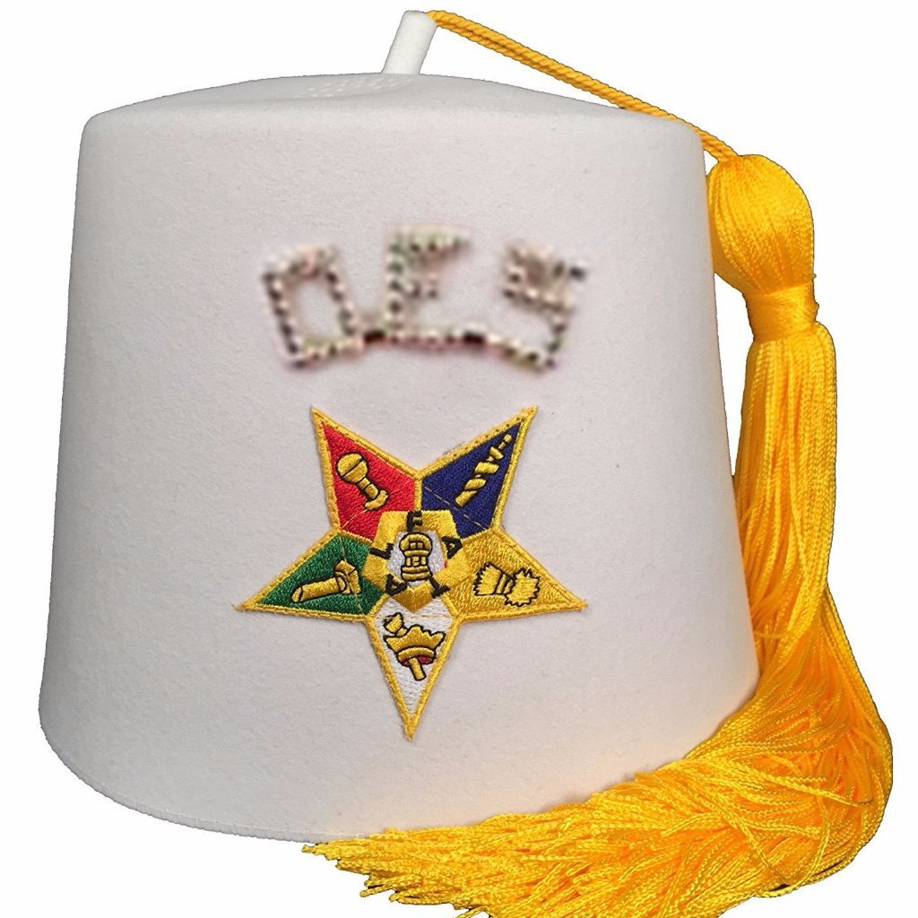 "Order of the Eastern Star OES Rhinestone 1"" White Fez - Bricks Masons"