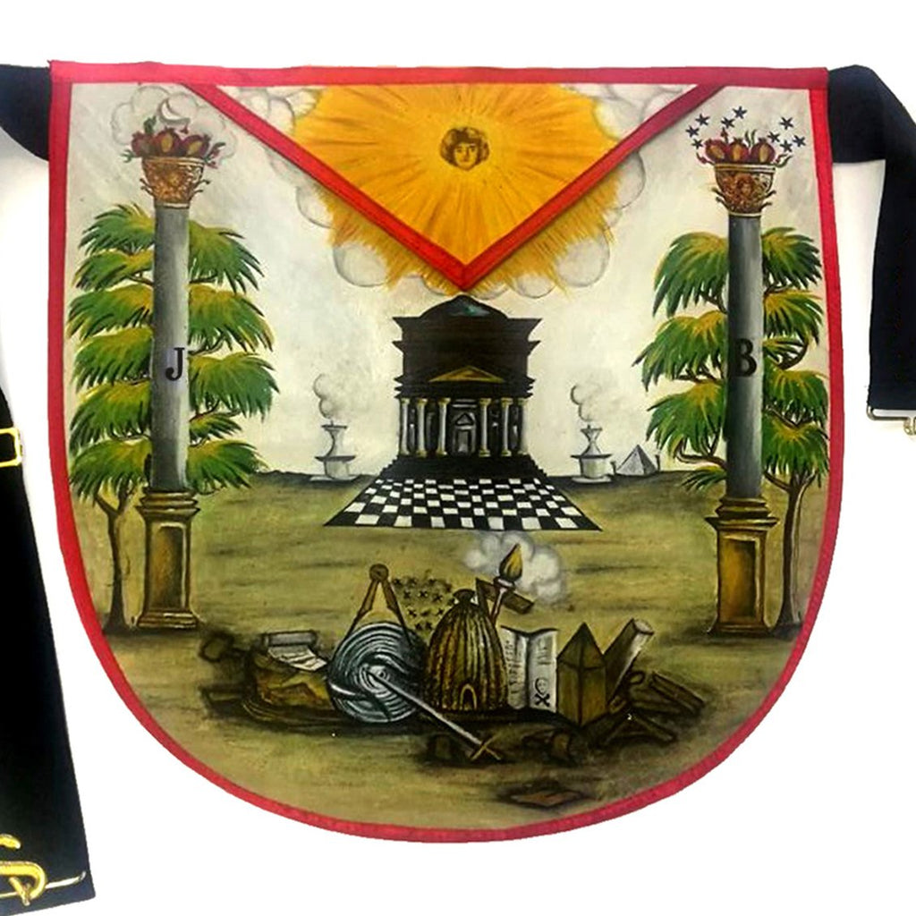 Hand-Painted Masonic Lambskin Apron - Bricks Masons