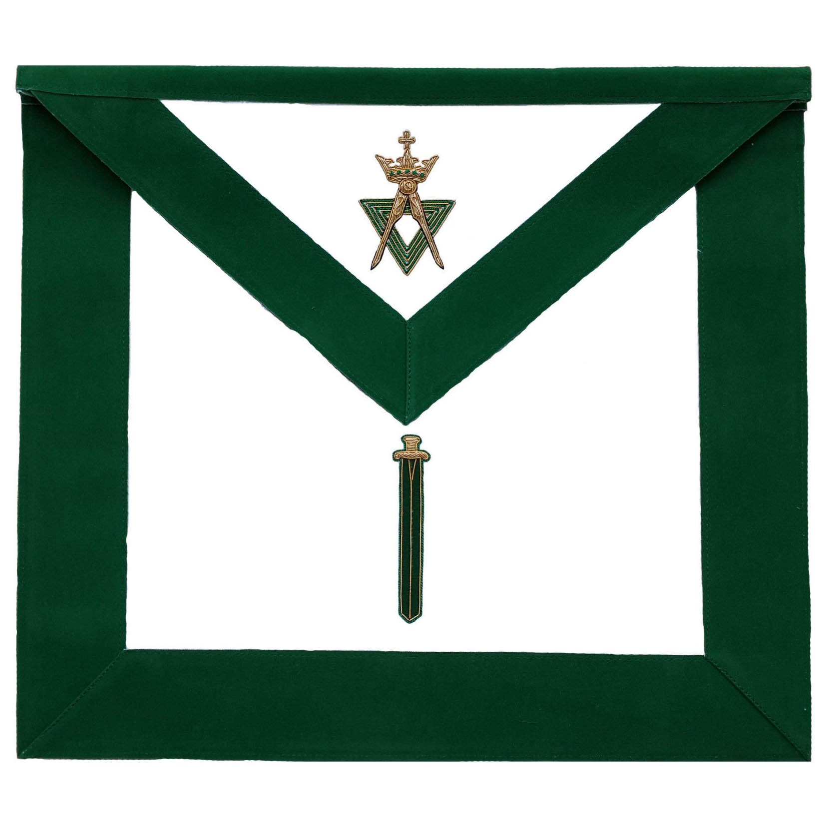 Allied Masonic Degree AMD Hand Embroidered Officer Apron - Sentinel - Bricks Masons