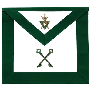 Allied Masonic Degree AMD Hand Embroidered Officer Apron - Treasurer - Bricks Masons
