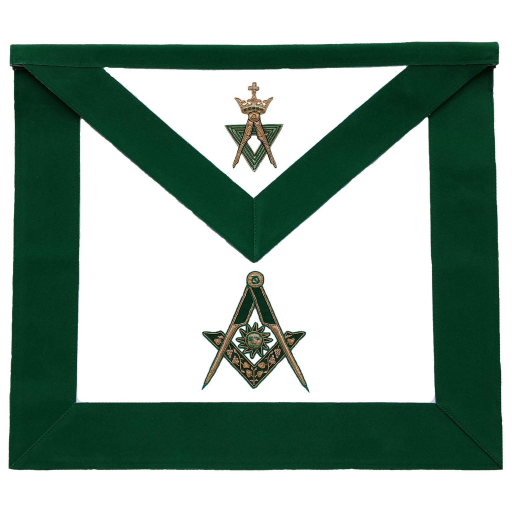 Allied Masonic Degree AMD Hand Embroidered Officer Apron - Senior Deacon - Bricks Masons