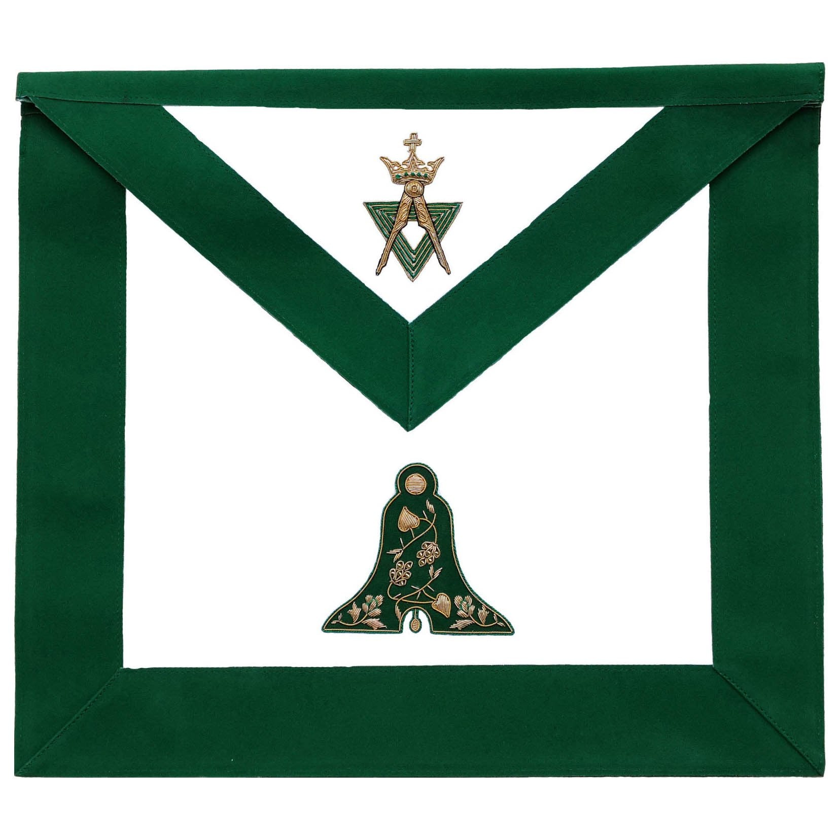 Allied Masonic Degree AMD Hand Embroidered Officer Apron - Senior Warden - Bricks Masons