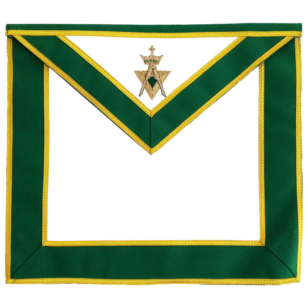 Allied Masonic Degree AMD Past Sovereign Master Apron Hand Embroidered Green Motif - Bricks Masons