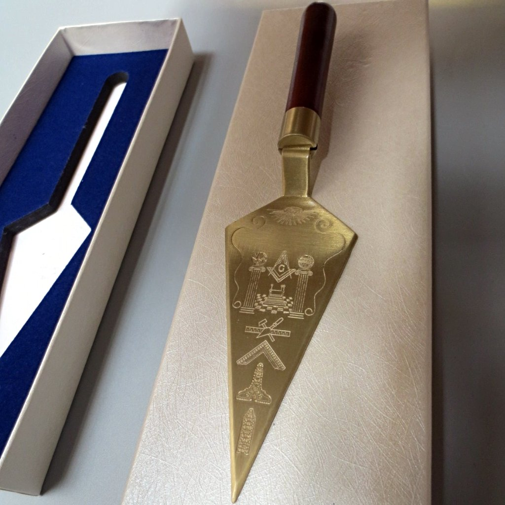 Masonic Trowel Master Mason Gold Plated with Custom Engraving - Bricks Masons