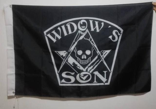 WIDOW'S SON Black Masonic Flag - Bricks Masons