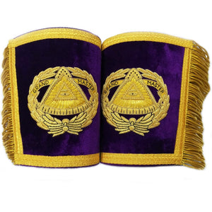 Masonic Gauntlets Cuffs - Grand Master Bullion Embroidered With Fringe - Purple - Bricks Masons