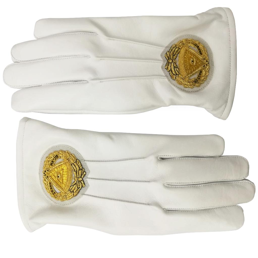 Soft Leather Masonic Gloves Grand Master Bullion Embroidery - Bricks Masons