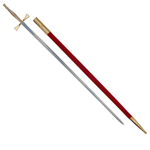 "Masonic Sword with Gold Hilt and Red Scabbard 35 3/4"" + Free Case - Bricks Masons"