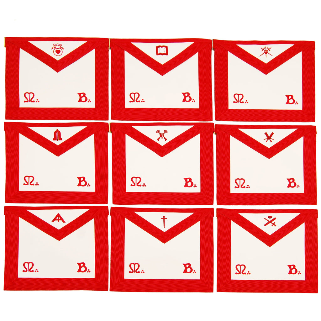 Masonic Scottish Rite Officers Apron (REAA) Red Embroidery - Set of 9