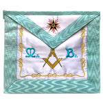 Master Mason French Rite / Modern Rite Square Compass Silk Apron - Sky Blue - Bricks Masons