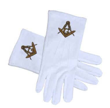 MASONIC REGALIA - STANDARD GOLD Masonic Glove - Bricks Masons