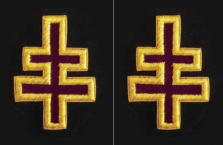 Knights Templar Sleeve Crosses - Bullion Embroidery - Bricks Masons