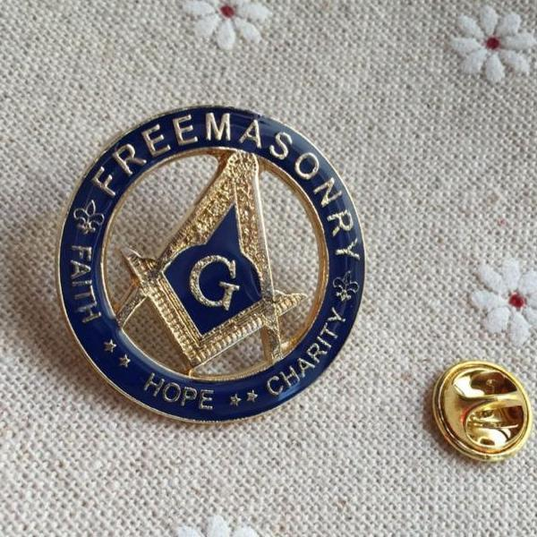 FREEMASONRY FAITH HOPE CHARITY Masonic Lapel Pin - Bricks Masons