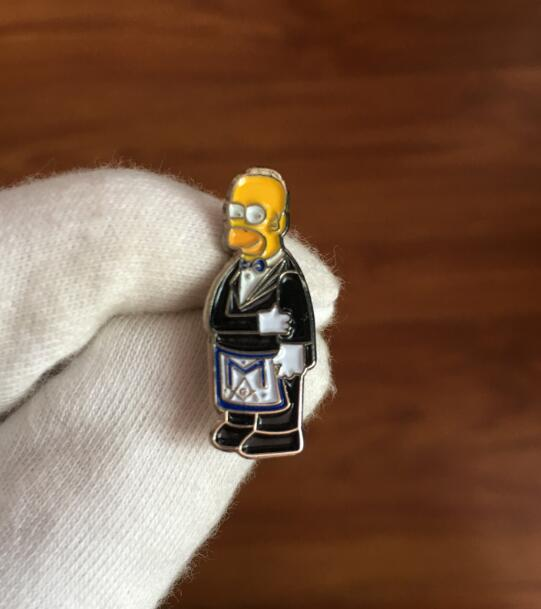 The Simpsons Homer Masonic Lapel Pin - Bricks Masons
