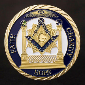 Faith Hope Charity Making Good Men Better Masonic Gold Coin - Bricks Masons