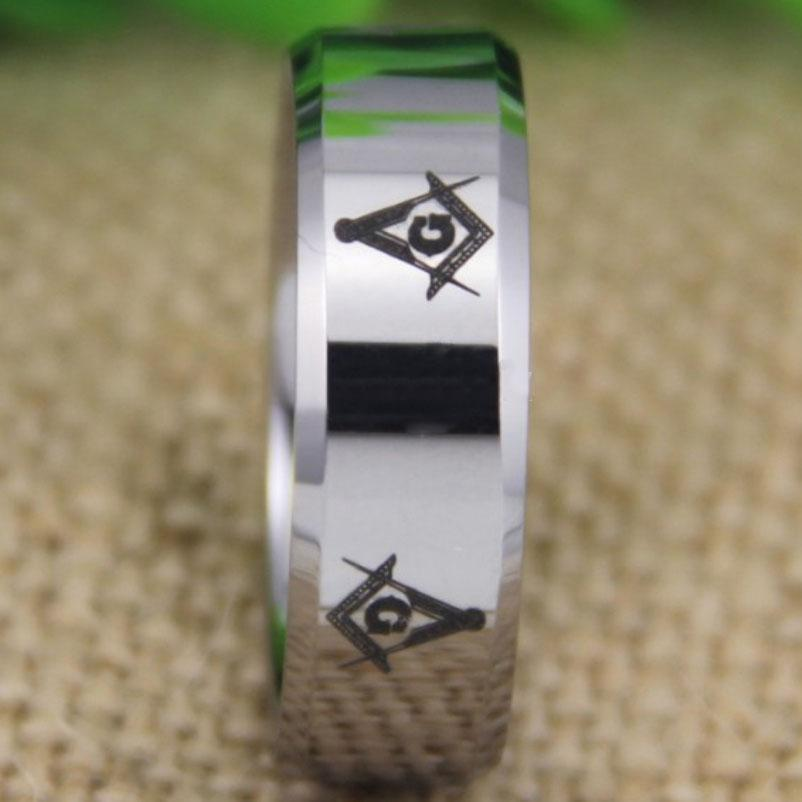 Silver Bevel Freemason Masonic Tungsten Ring Free Engraving - Bricks Masons