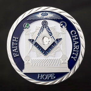Faith Hope Charity Making Good Men Better Masonic Silver Coin - Bricks Masons