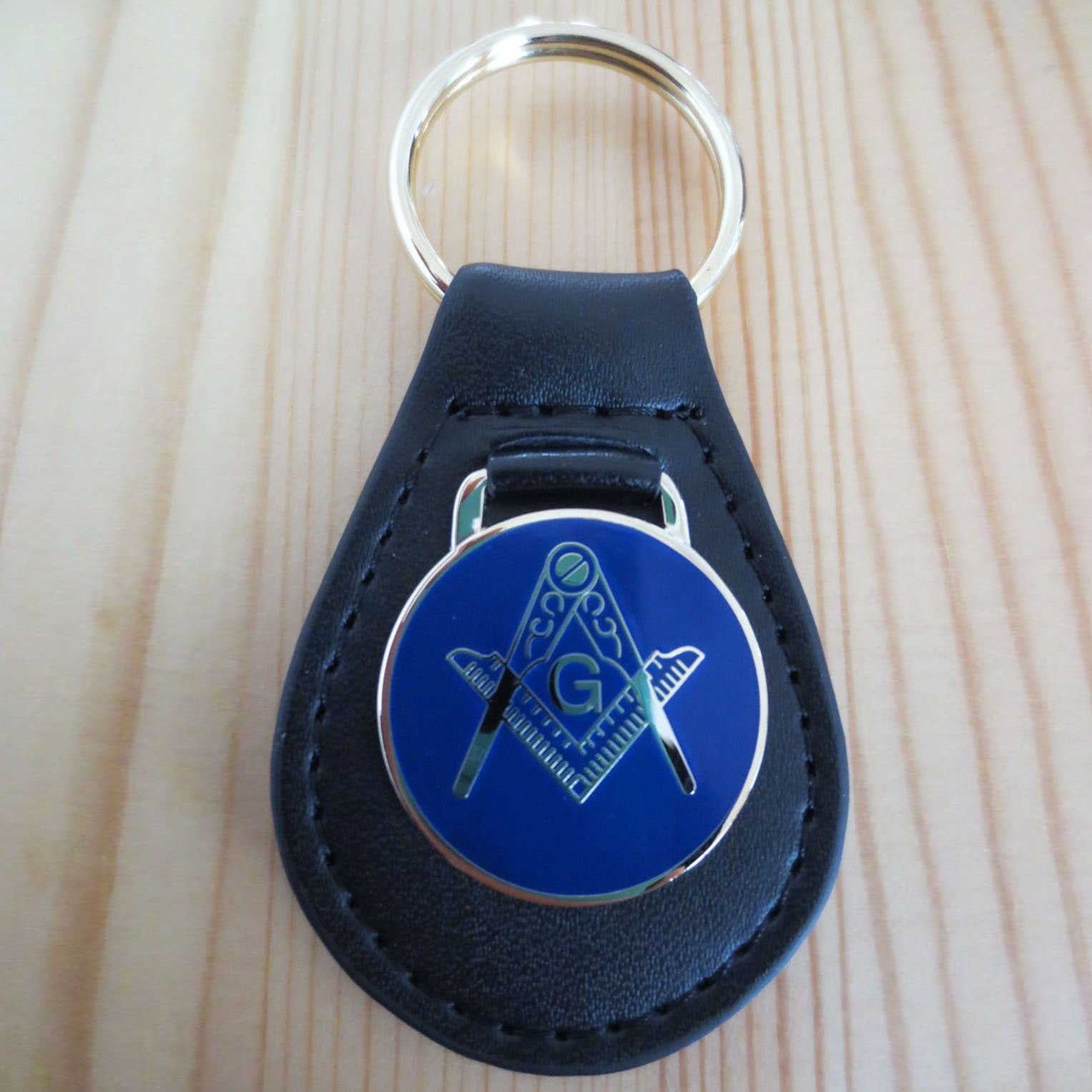 Leather Round Masonic Key Chain - Bricks Masons