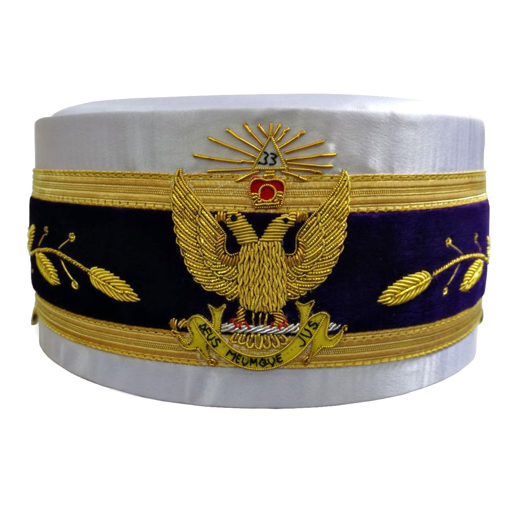 33rd Degree Scottish Rite White Cap Bullion Hand Embroidery - Bricks Masons