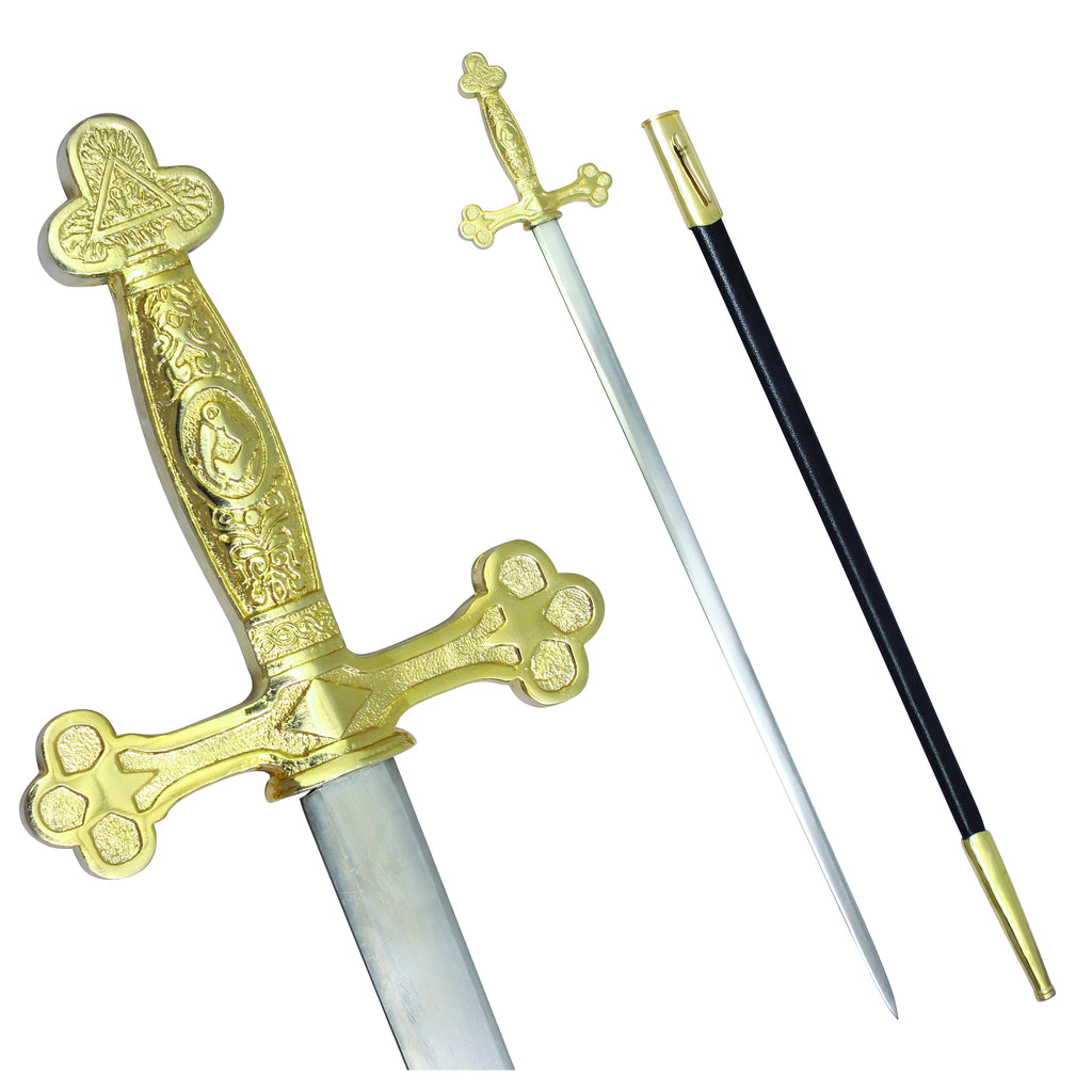 Masonic Ceremonial Sword Square Compass Gold Hilt + Free Case - Bricks Masons