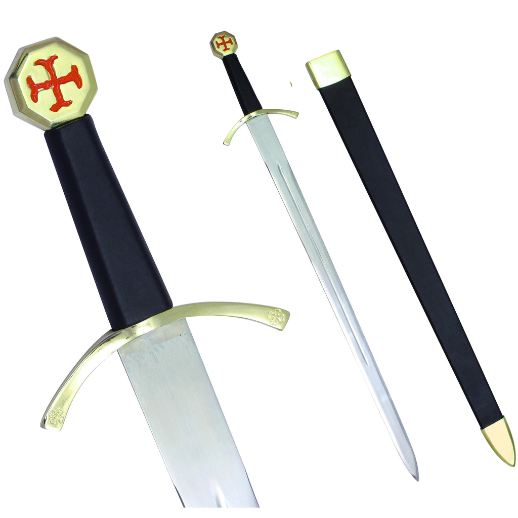 "Masonic Knights Templar Cross Sword Black Hilt and Black Scabbard 35 3/4"" + Free Case"