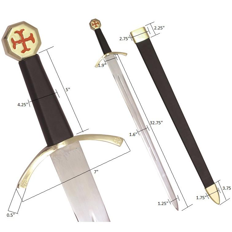 "Masonic Knights Templar Cross Sword Black Hilt and Black Scabbard 35 3/4"" + Free Case - Bricks Masons"