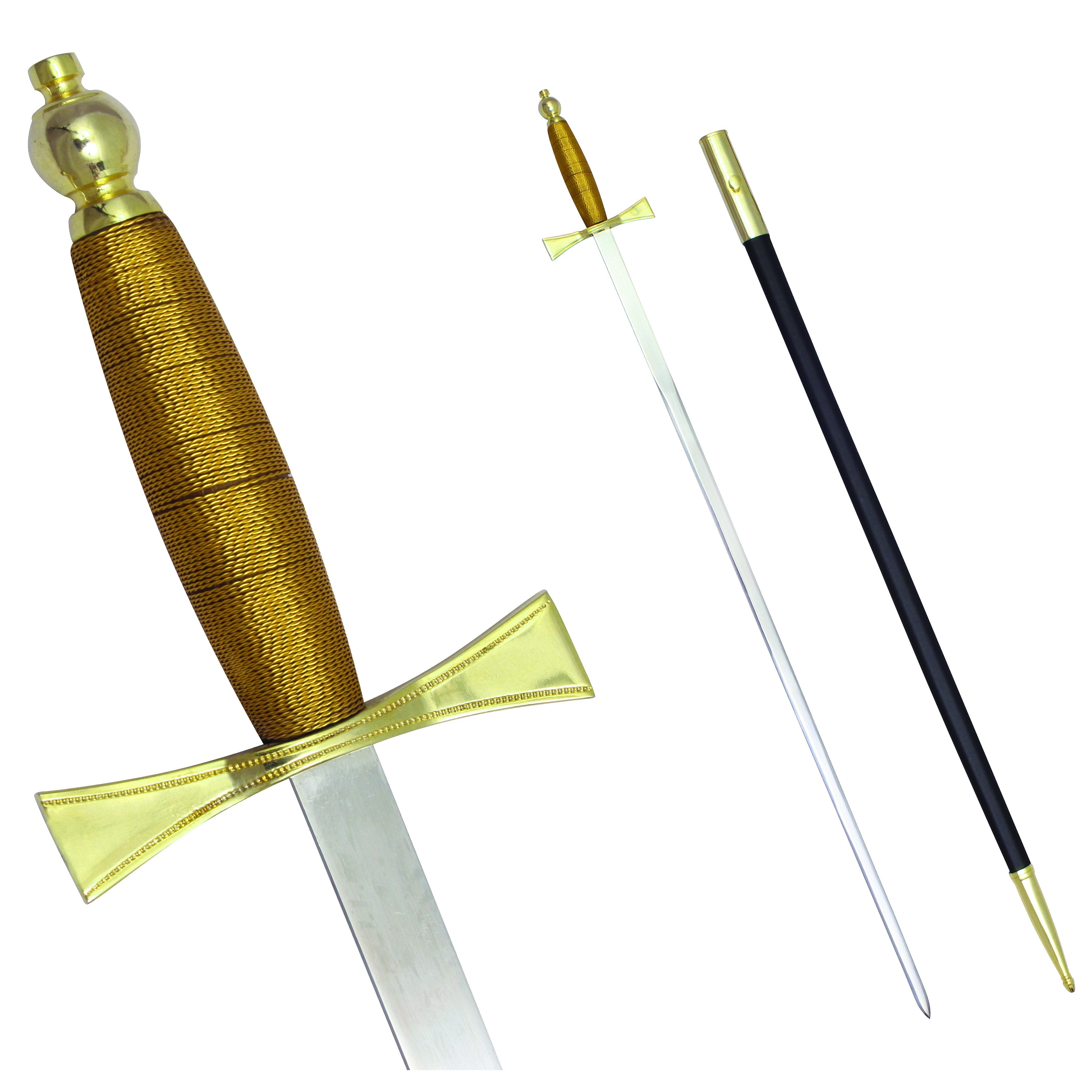 "Masonic Sword with Brown Gold Hilt and Black Scabbard 35 3/4"" + Free Case - Bricks Masons"