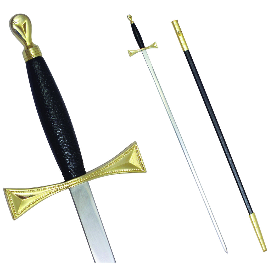 "Masonic Sword with Black Gold Hilt and Black Scabbard 35 3/4"" + Free Case"